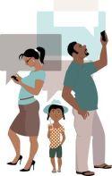 Parents using smartphones ignoring child_0